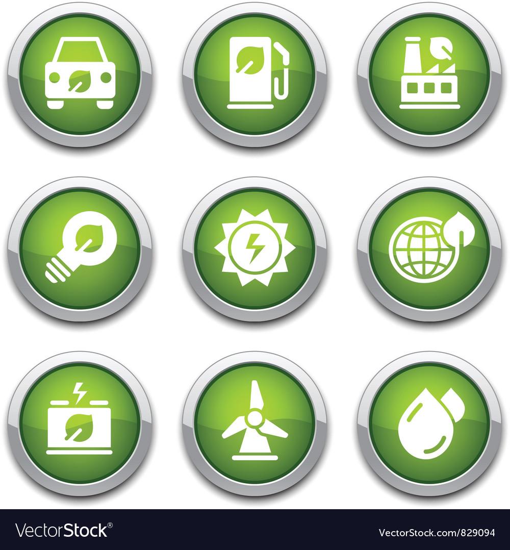 Green ecology buttons vector