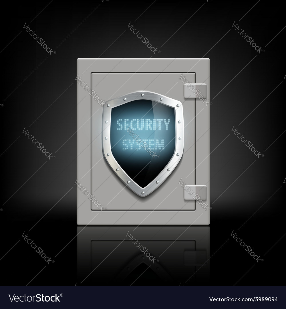 Metal safe with a shield vector