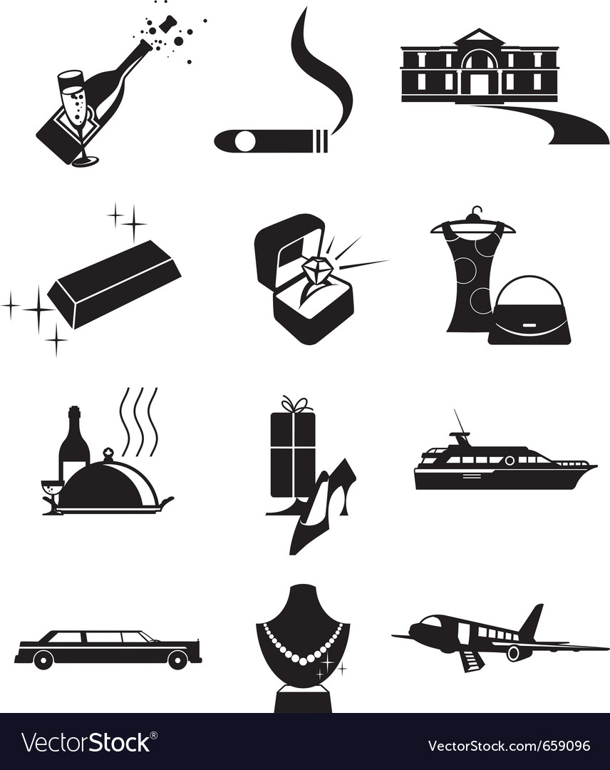Luxury wealth icons vector