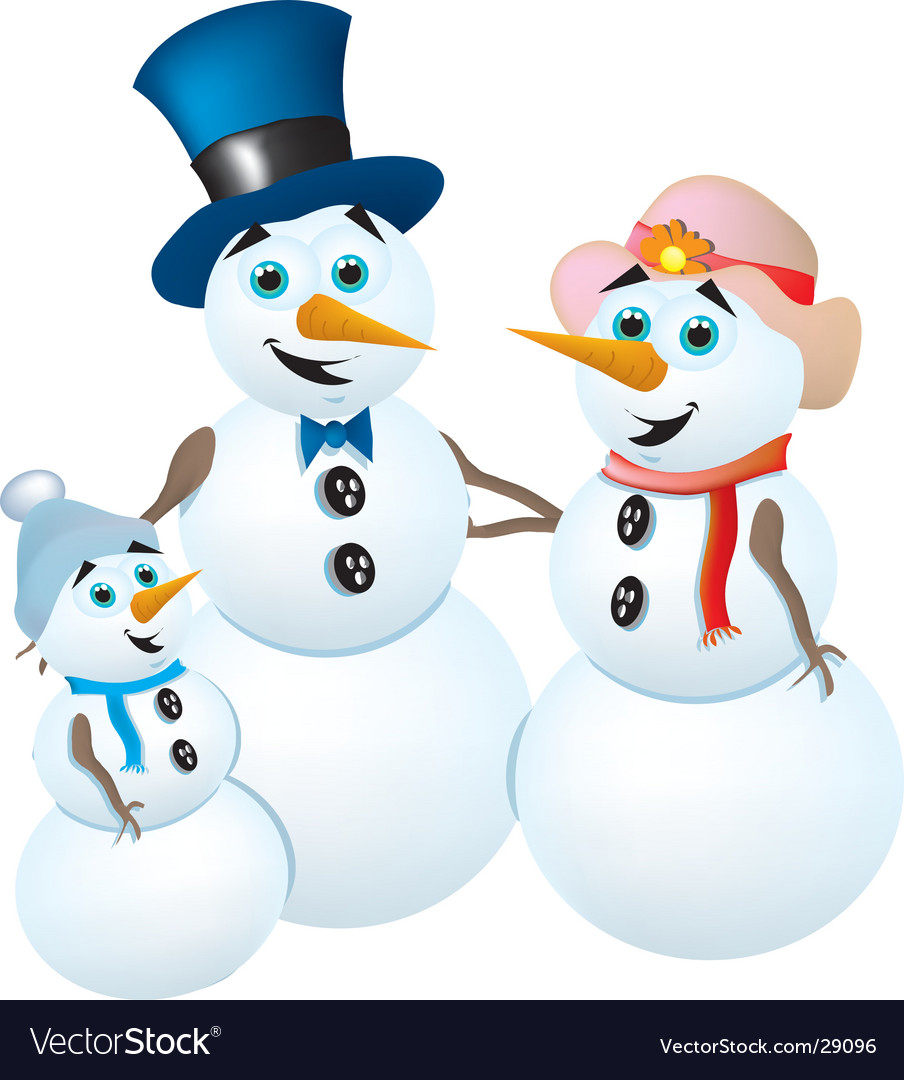 Snowman family vector