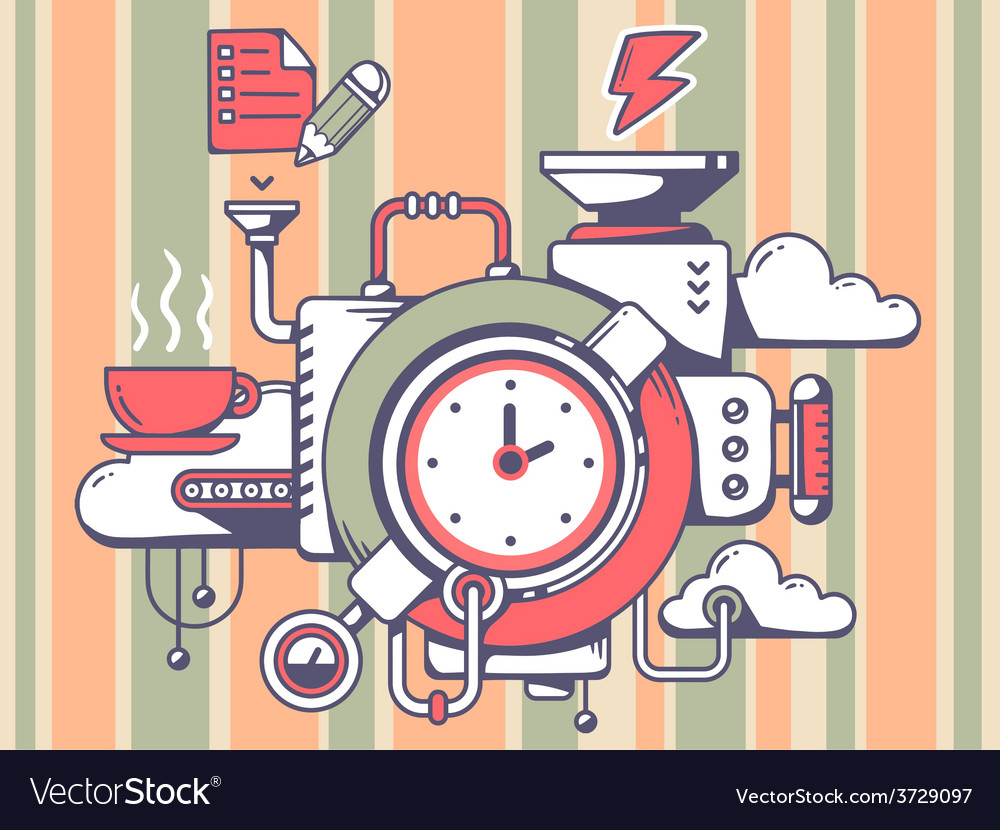 Mechanism with clock and relevant icons o vector