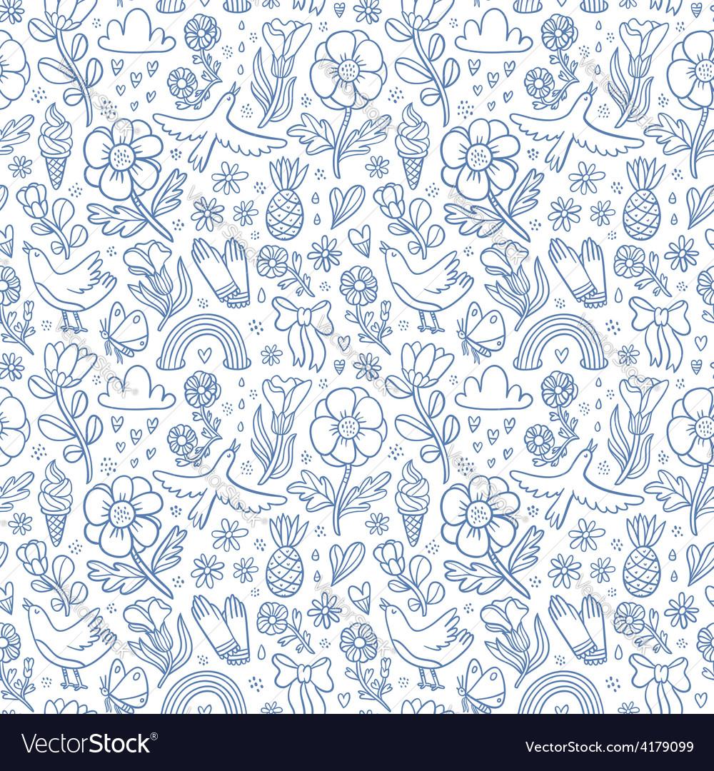 Summertime blue seamless pattern vector