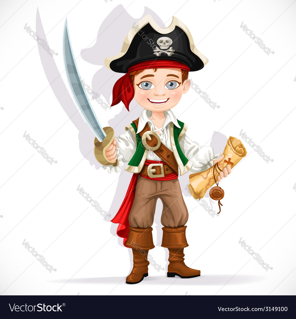 Cute pirate boy with cutlass isolated on a white vector