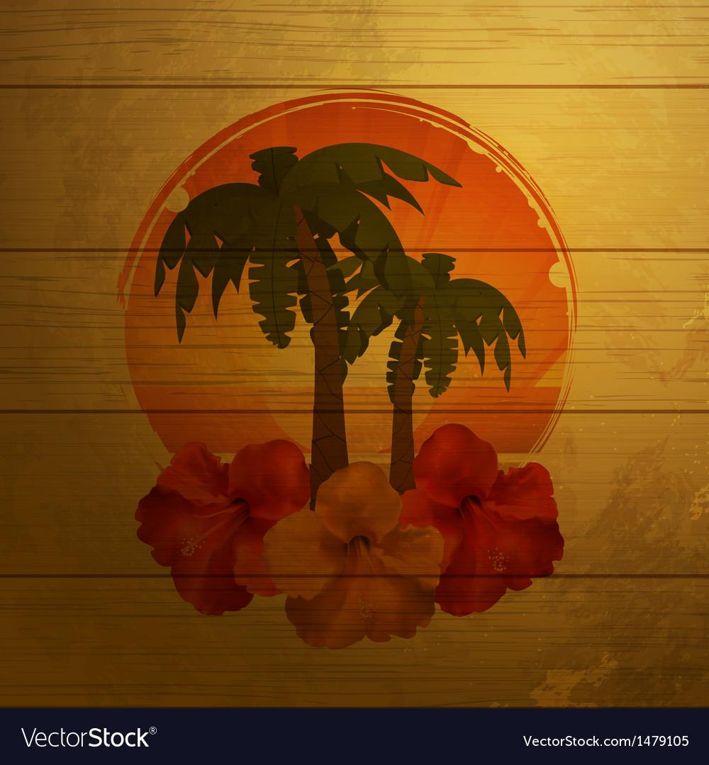 Tropical emblem on wood vector