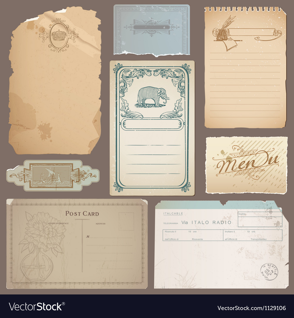 Set of different vintage papers cards vector