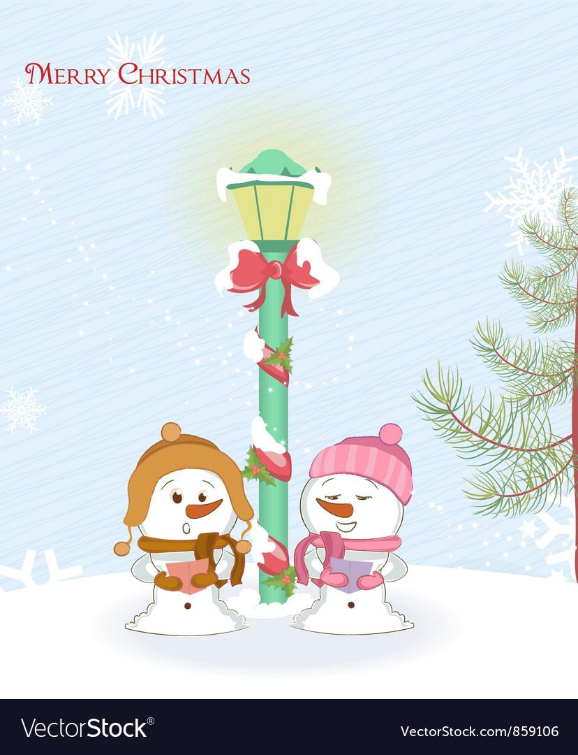 Snowmen with street light vector
