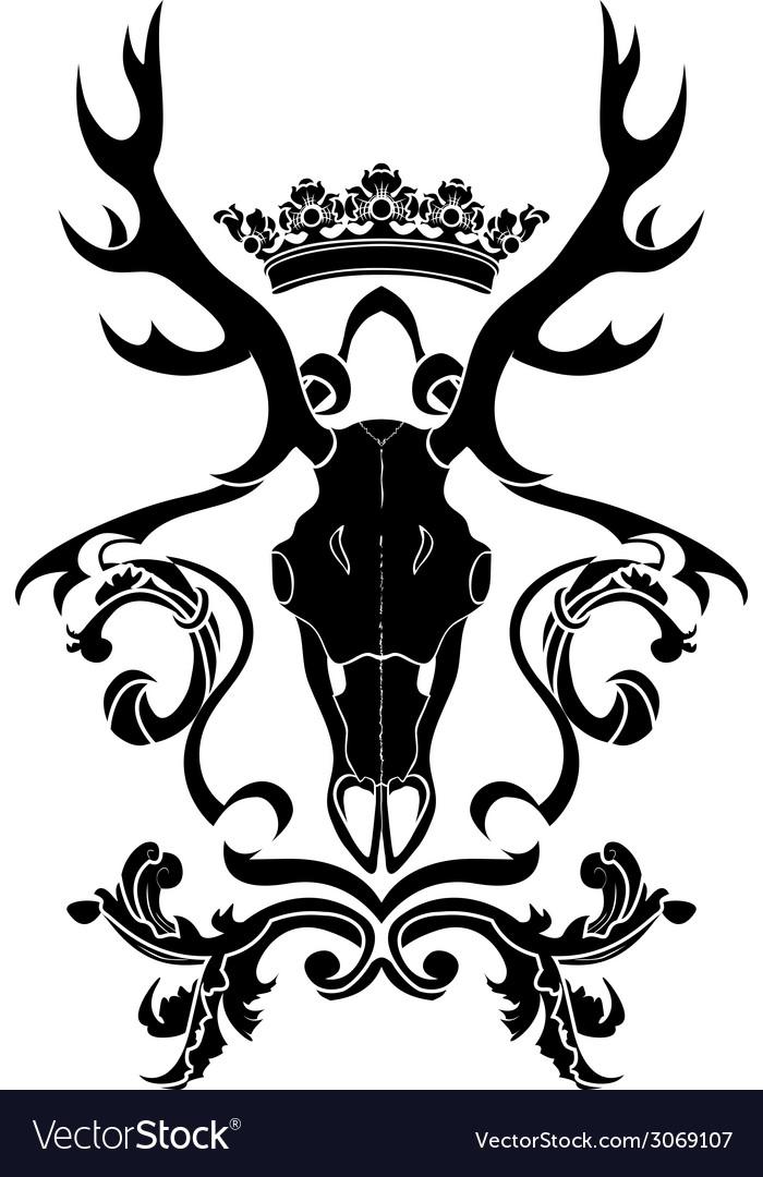 Emblem heraldic symbol with deer skull and crown vector