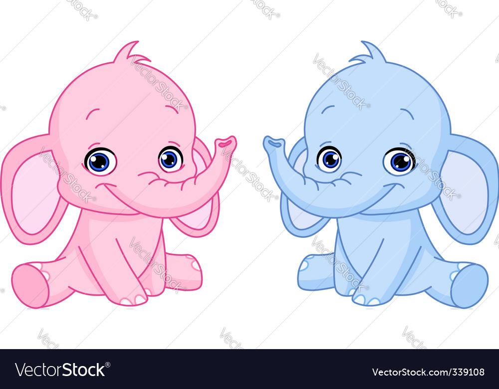Baby elephants vector