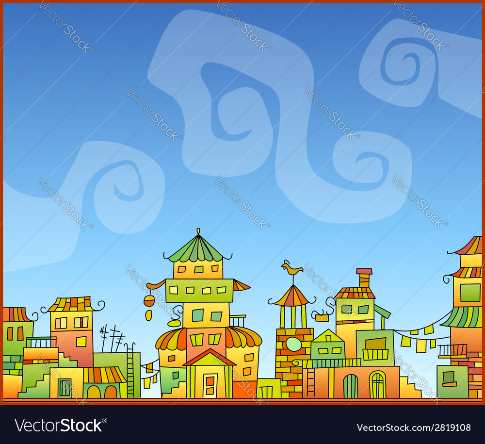 Fairy-tale hand-drawn town vector