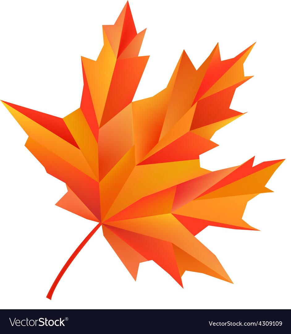 Geometric maple autumn leaf isolated on vector