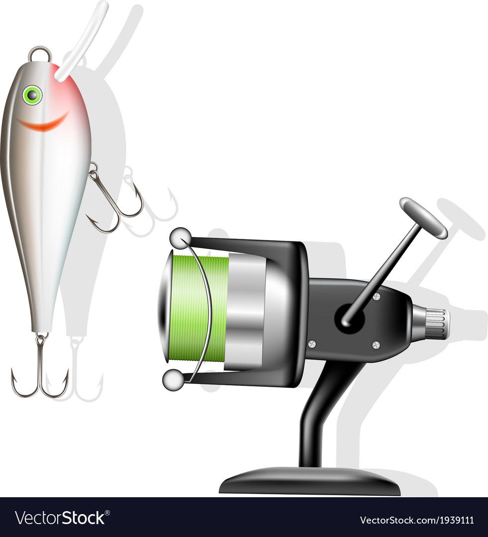 Fishing reel and wobbler vector