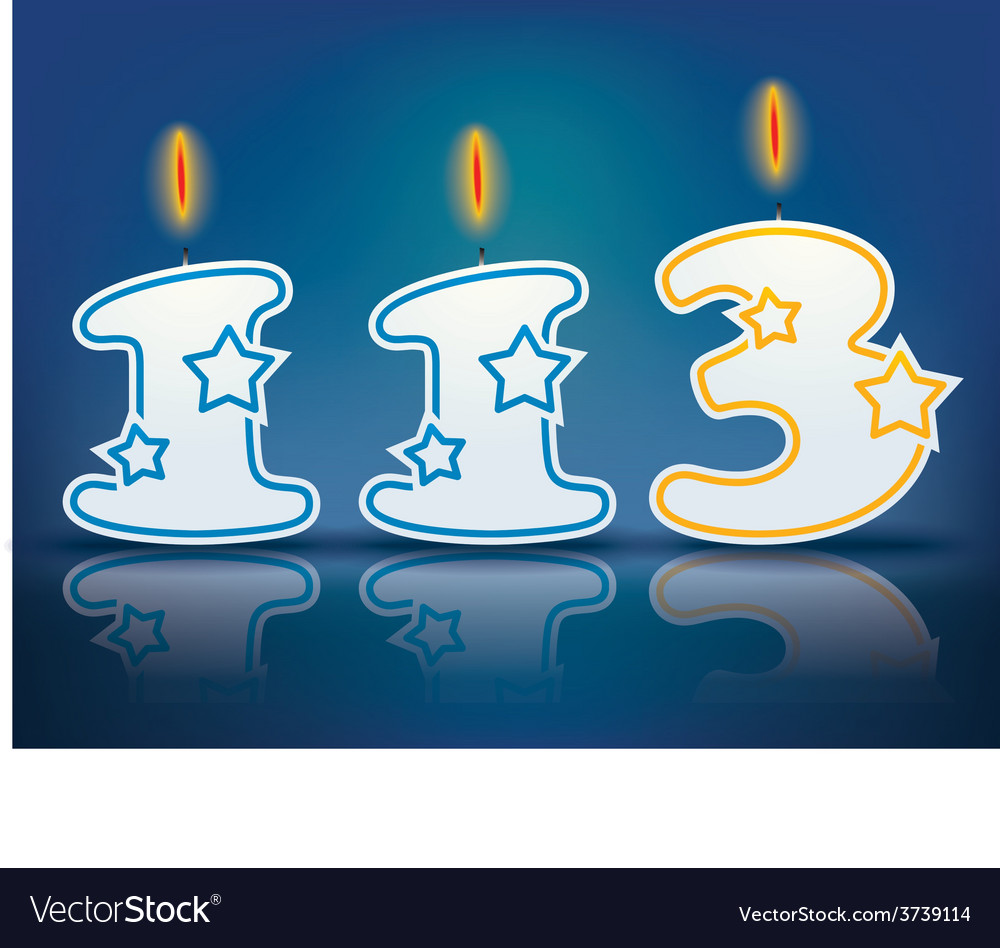 Birthday candle number 113 vector