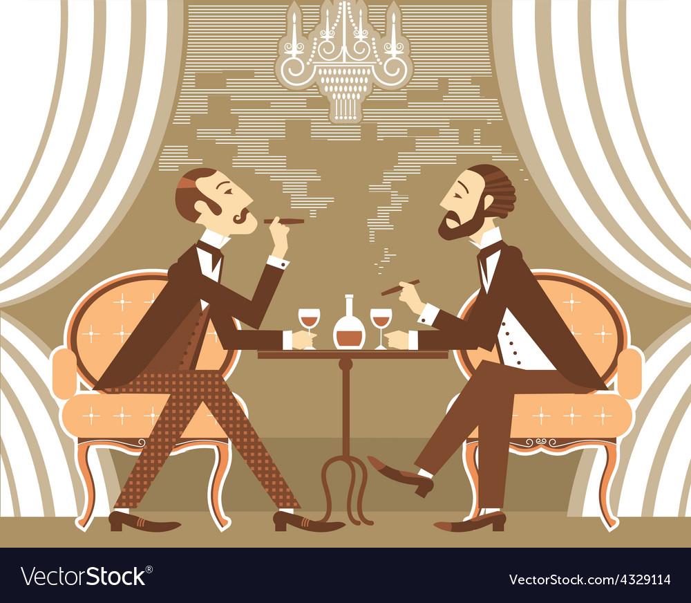 Gentlemen in tobacco smoke in club vector