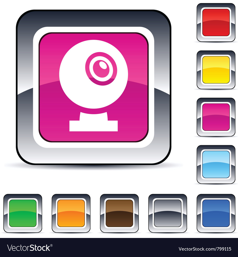 Webcam square button vector