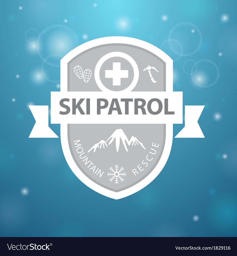 Logotype mountain ski patrol rescue on blue vector