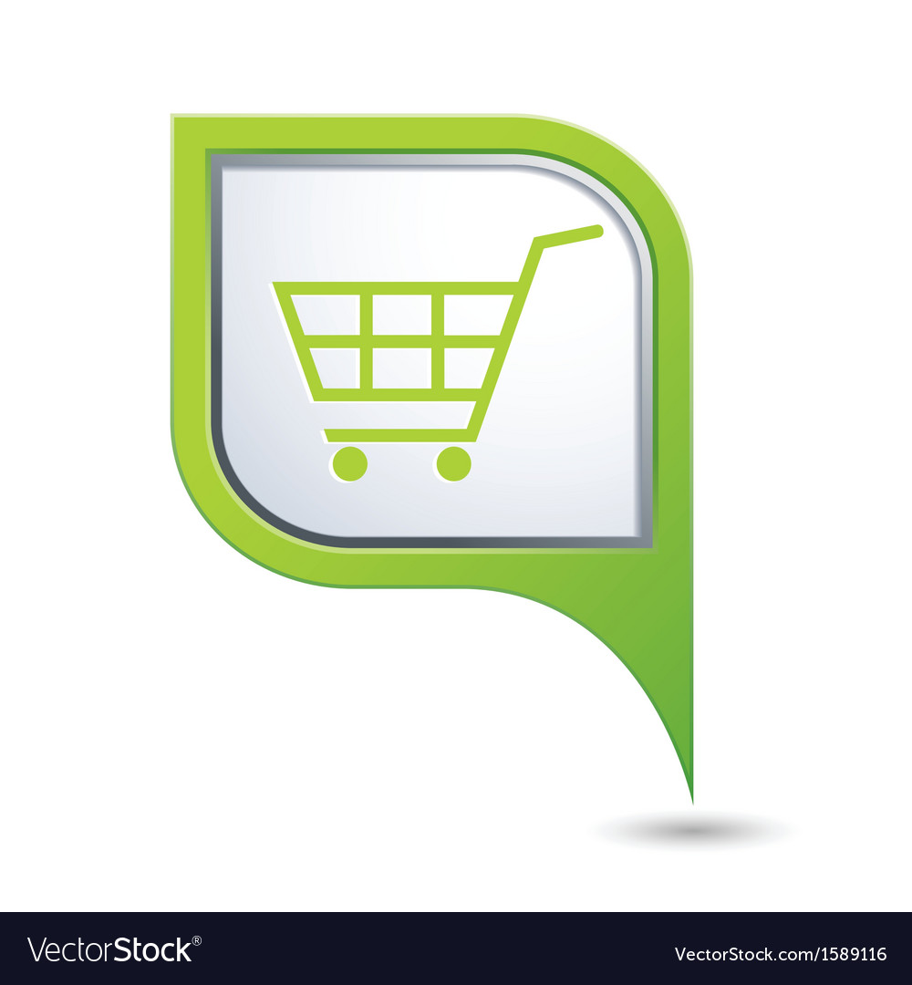 Shop basket on green map pointer vector