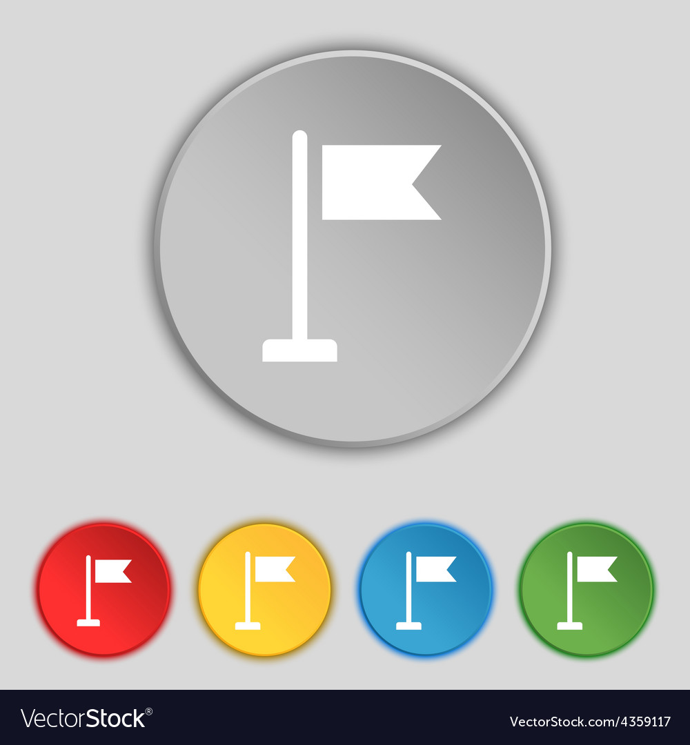 Flag icon sign symbol on five flat buttons vector