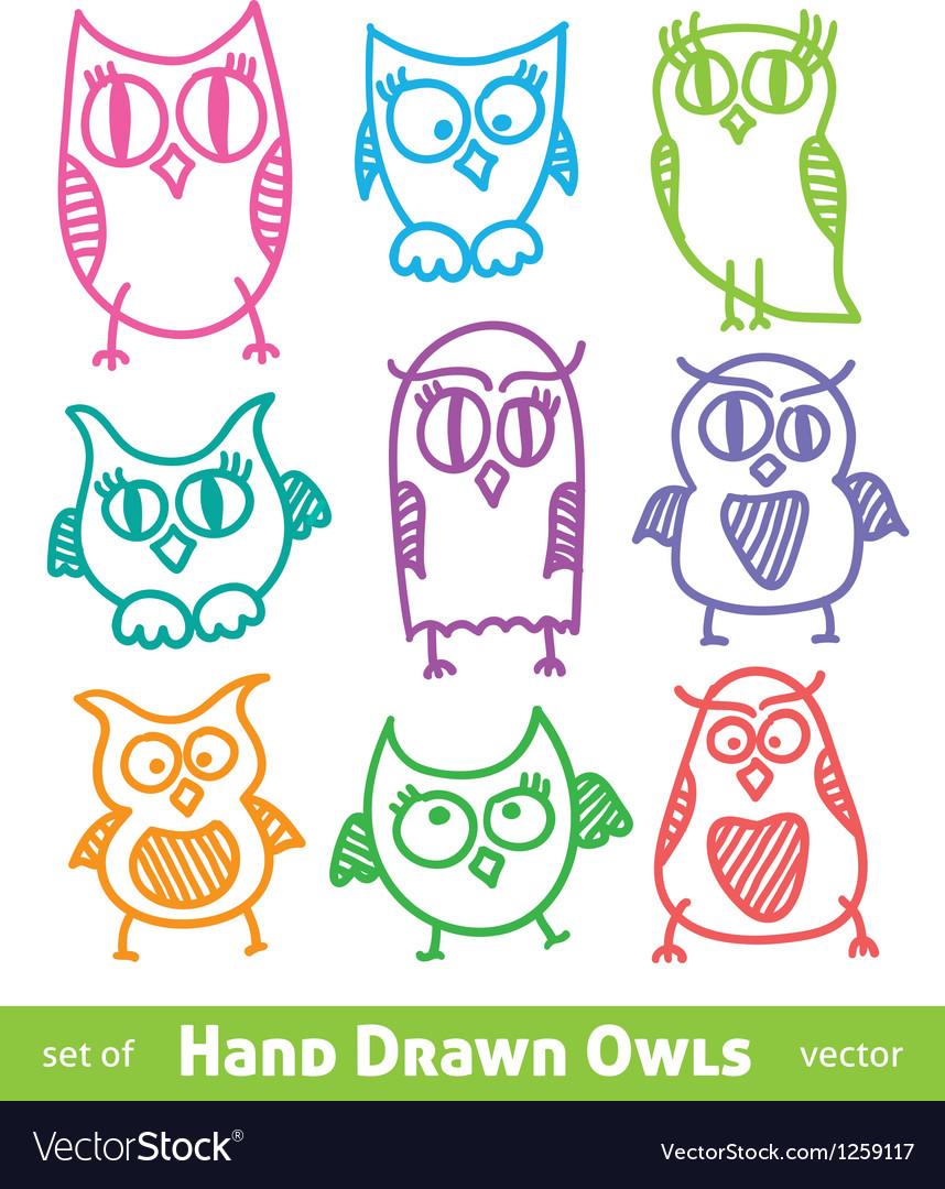 Hand drawn owls vector