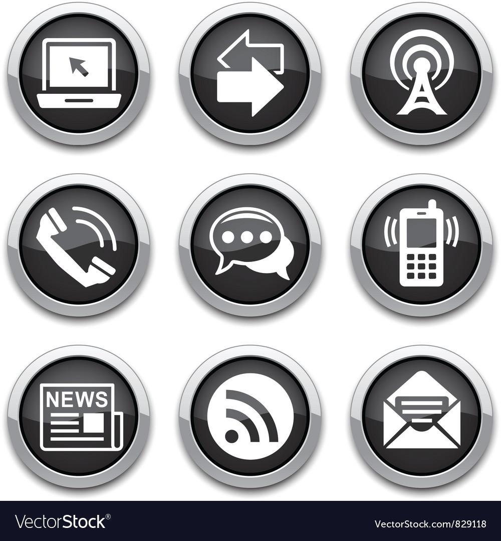 Black communication buttons vector