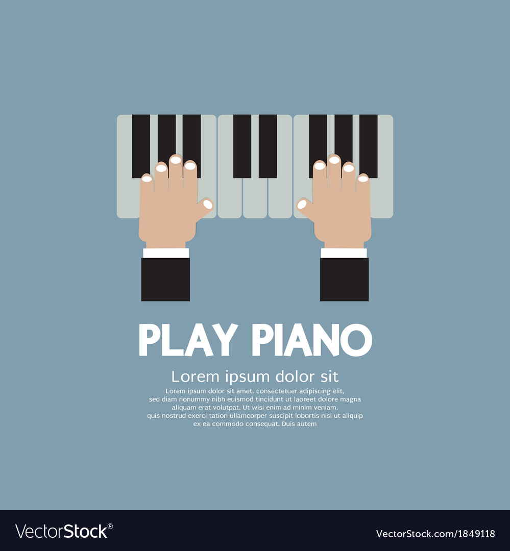 Hand playing piano vector