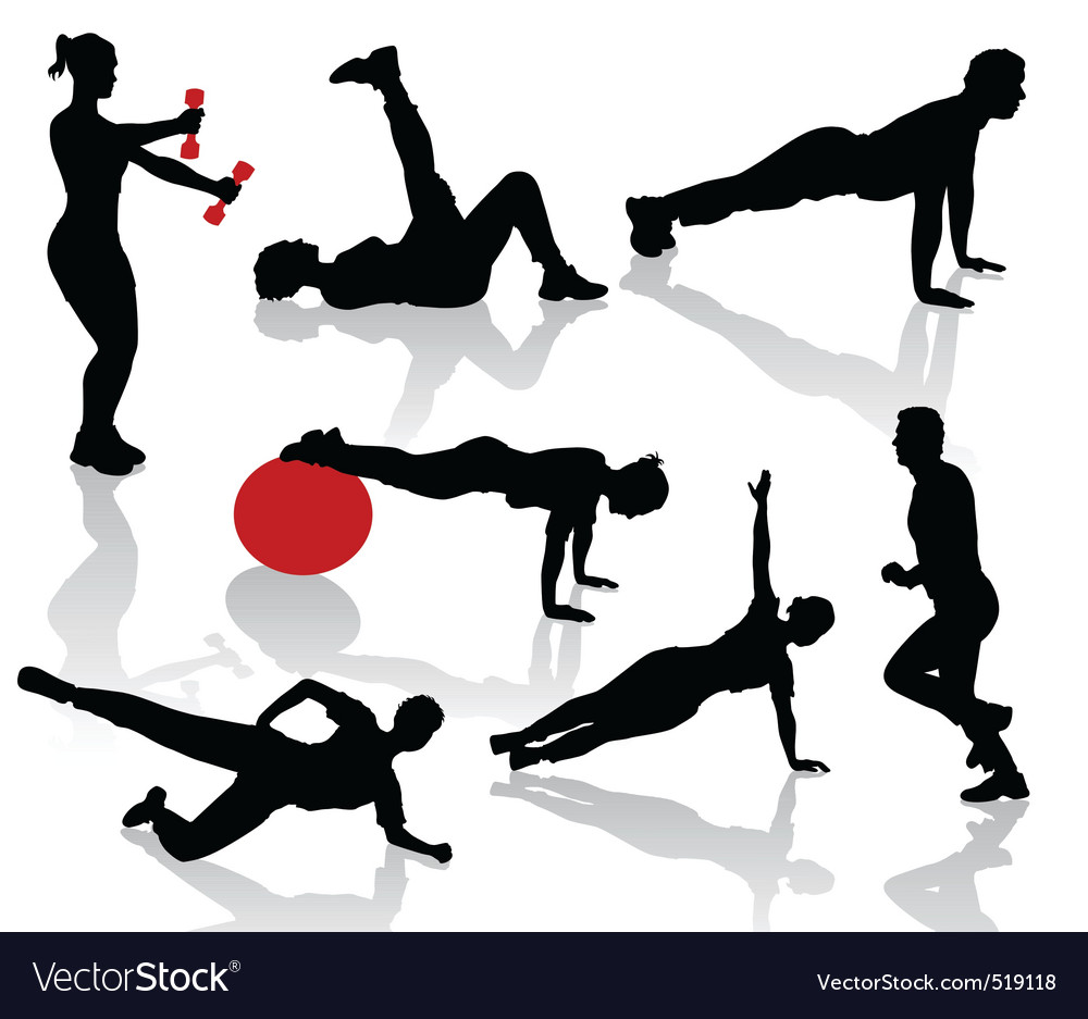 Silhouettes of exercises peopl vector