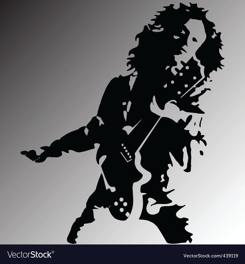 Rock guitar player silhouette vector