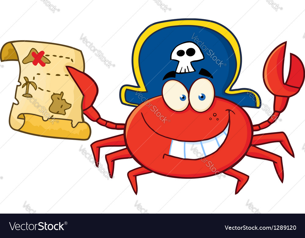 Pirate crab holding a treasure map vector