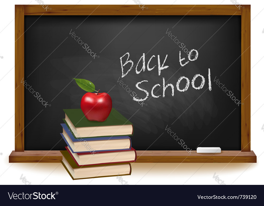School books with apple on desk vector