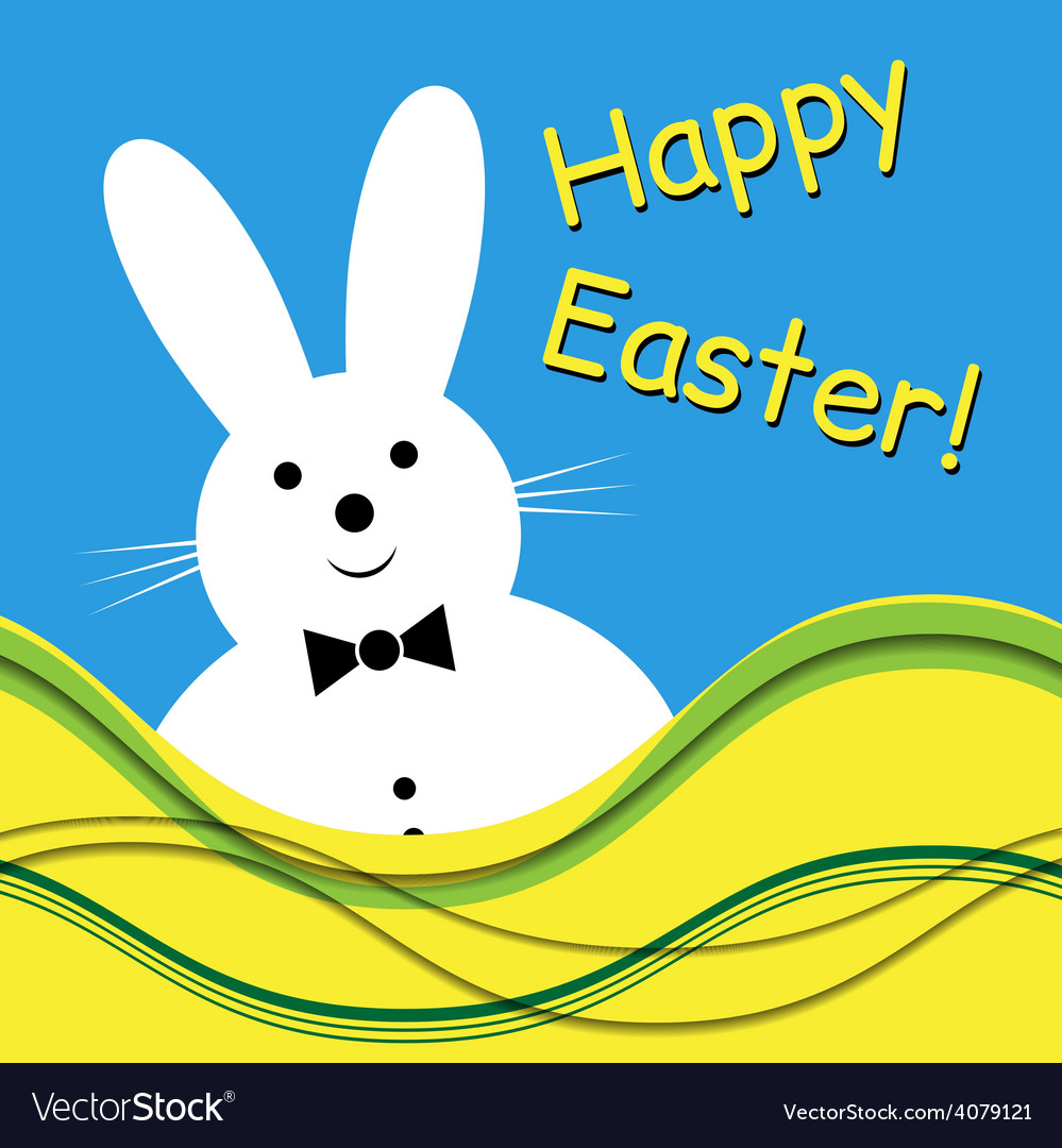 - white bunny with bow tie vector