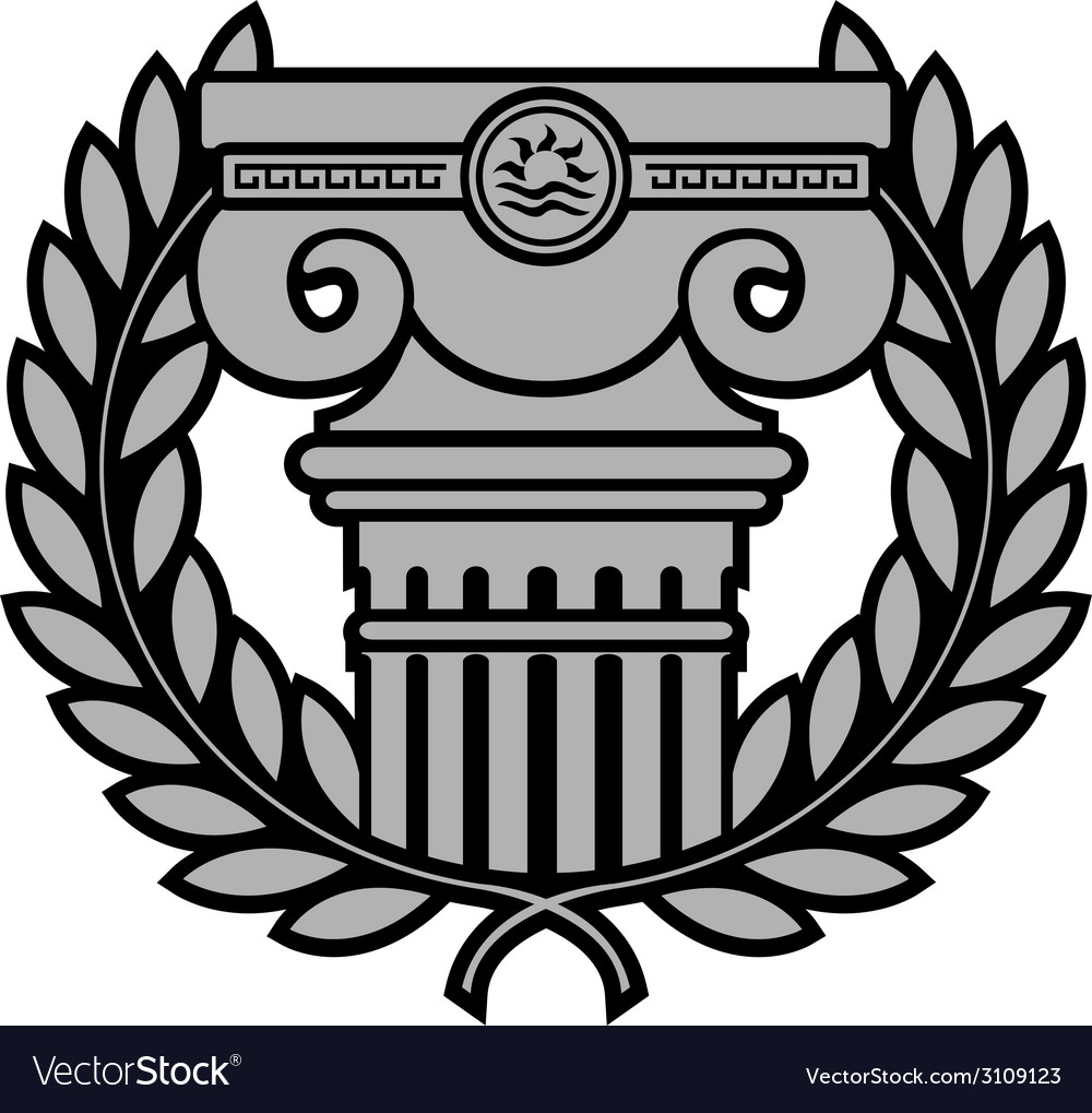 Ancient ionic column with laurel wreath vector