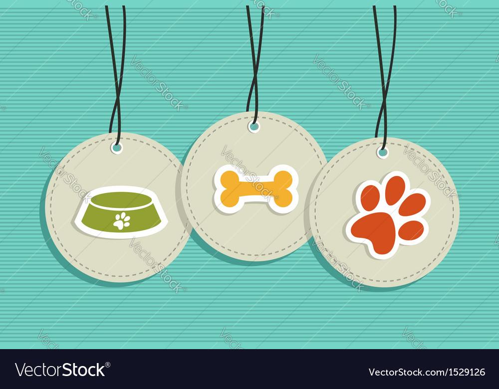 Hanging pet badges set vector