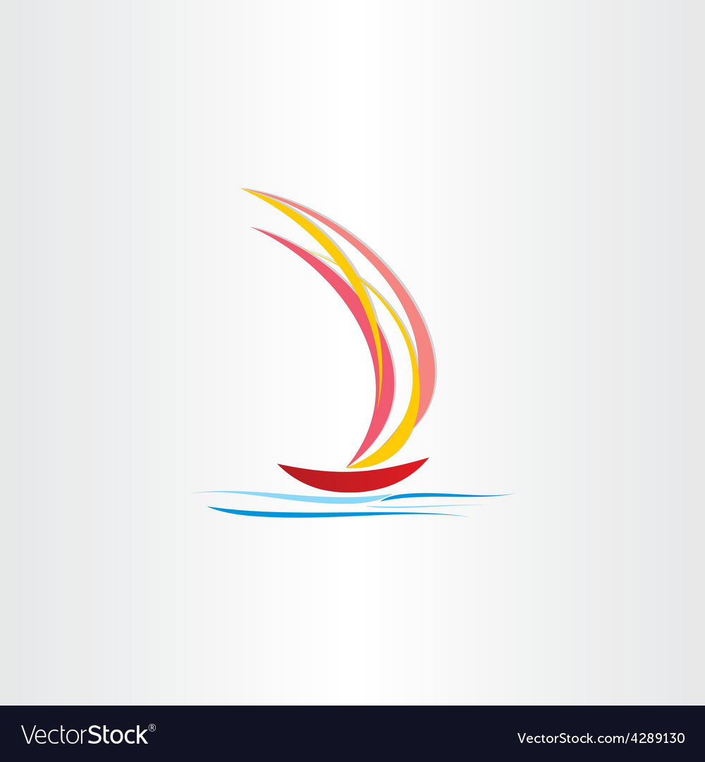 Boat sailing on sea abstract design vector