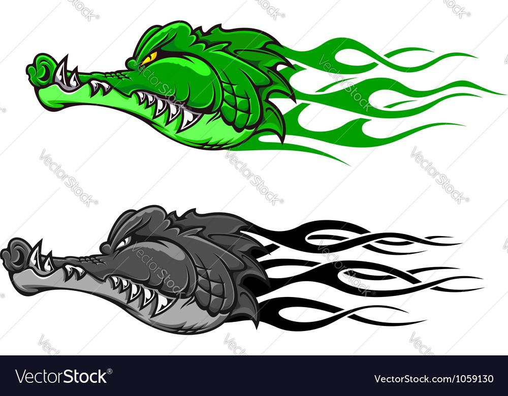 Crocodile tattoo with tribal flames vector