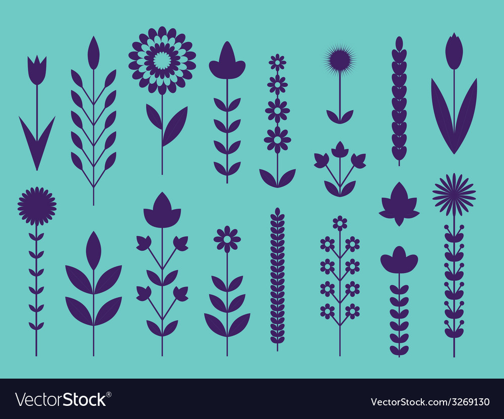 Geometric cute flower icons set vector