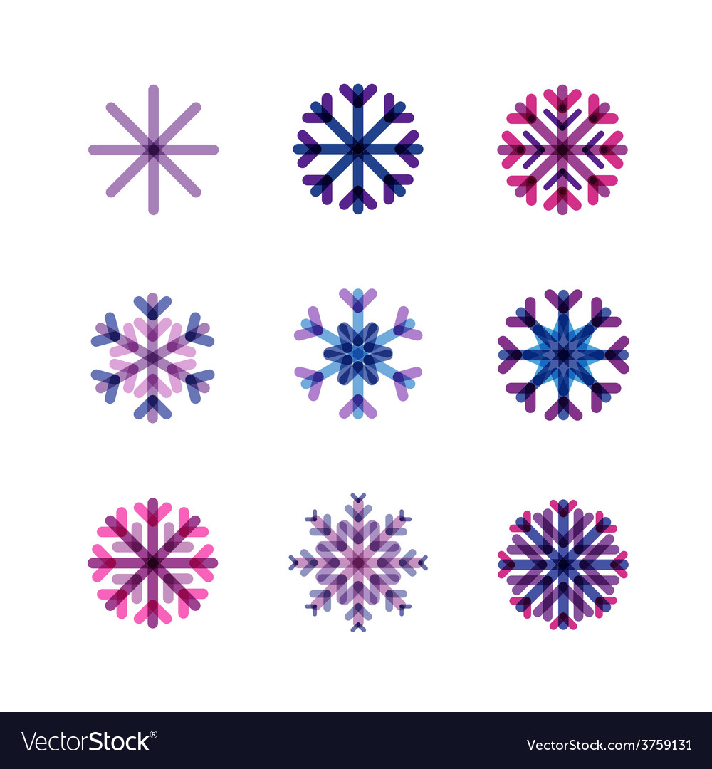 Set from snowflakes in cold tones vector