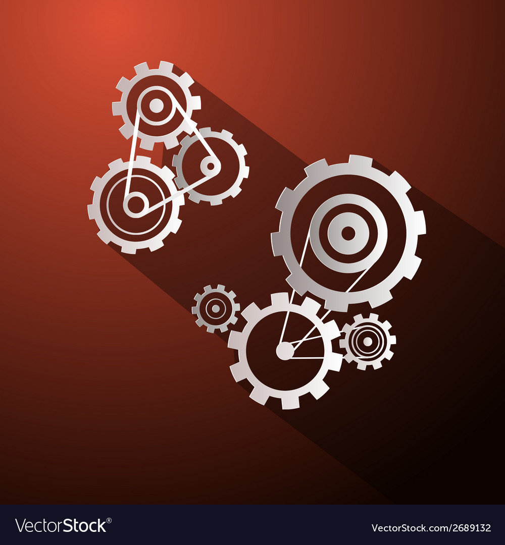 Abstract paper cogs - gears on red background vector