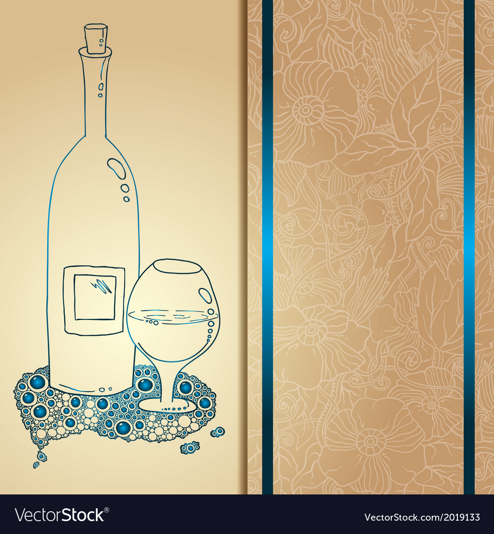 Template card with glass and bubbles vector