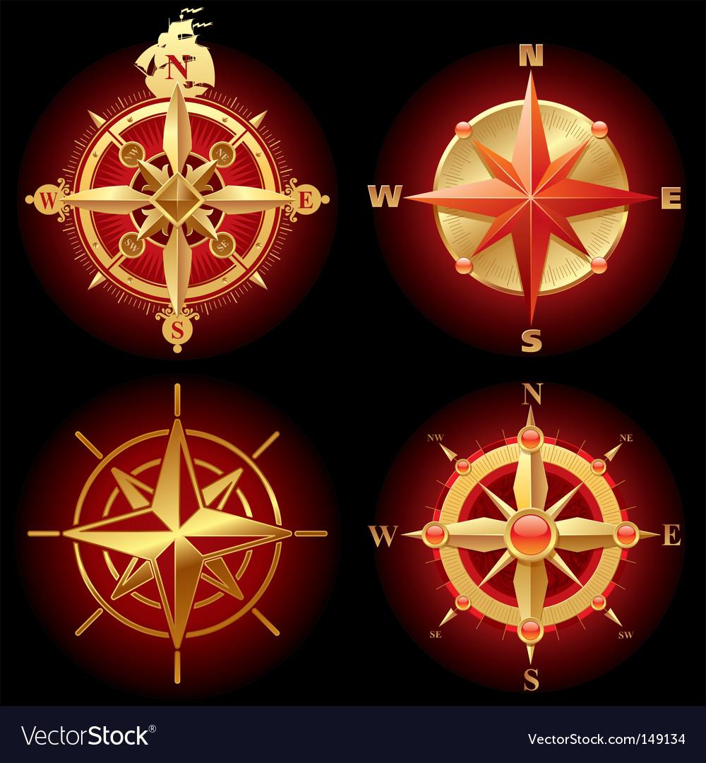Ancient golden compass rose vector