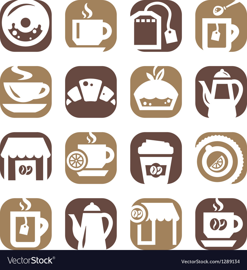 Color coffee and tea icons vector