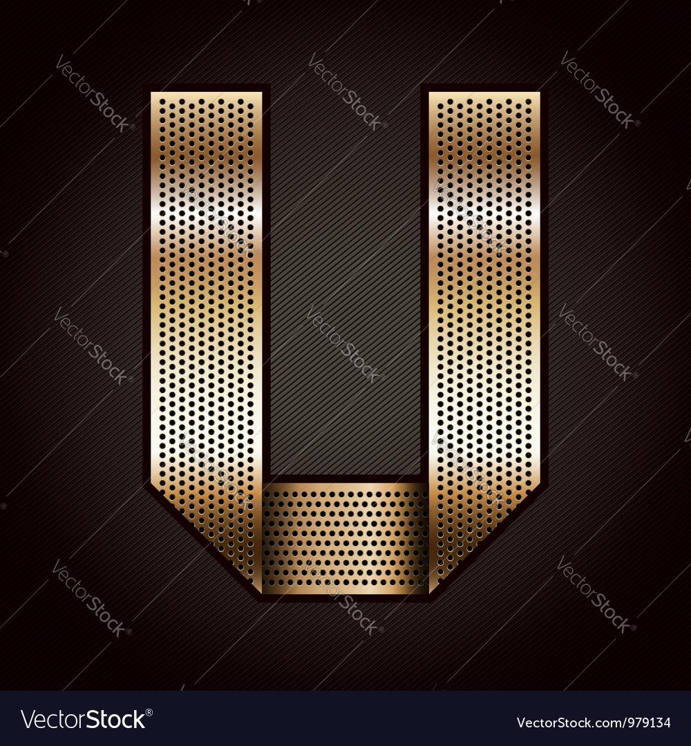Letter metal gold ribbon - u vector