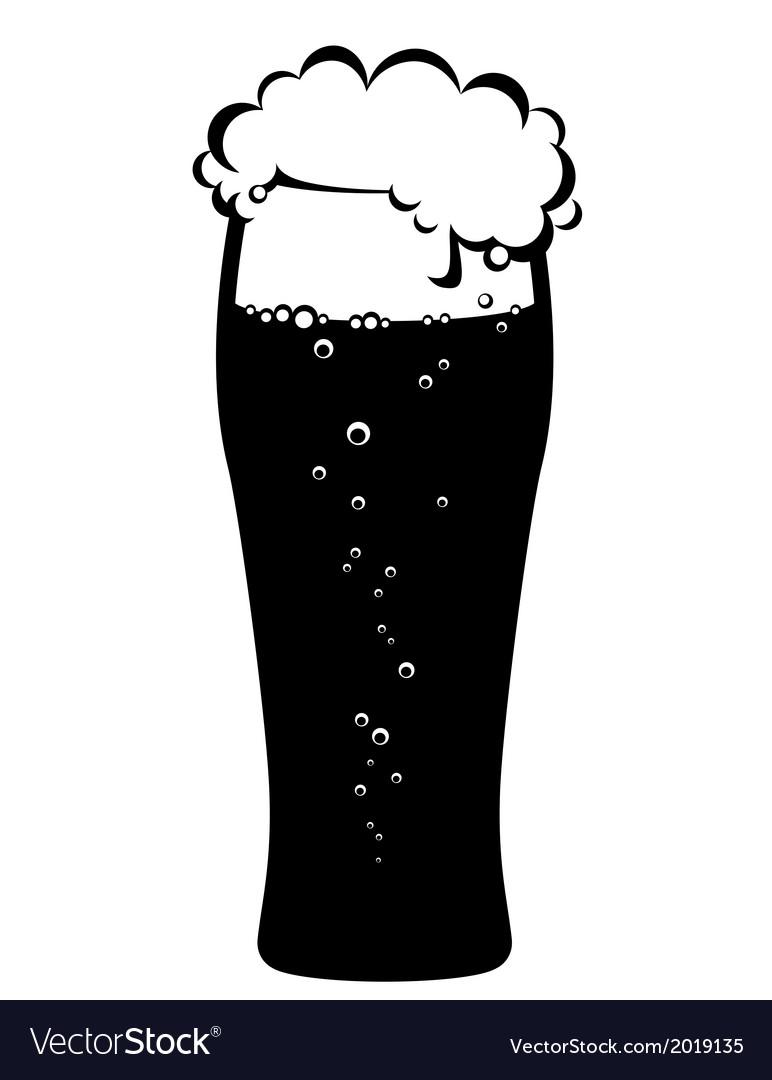 Black glass of beer vector