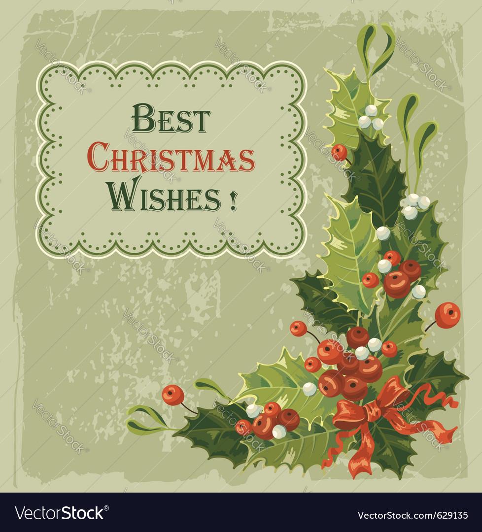 Vintage christmas card vector