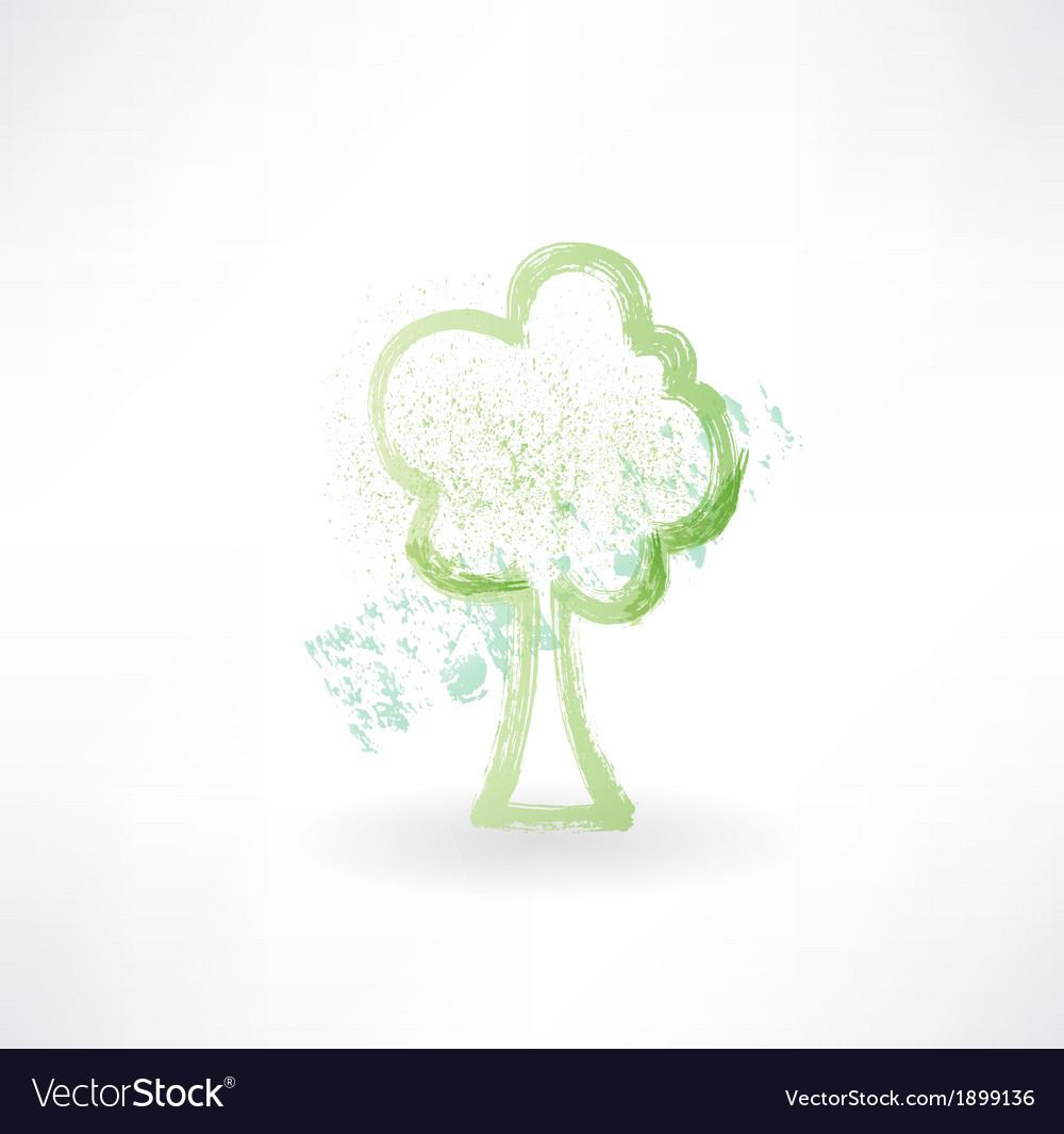 Tree grunge icon vector