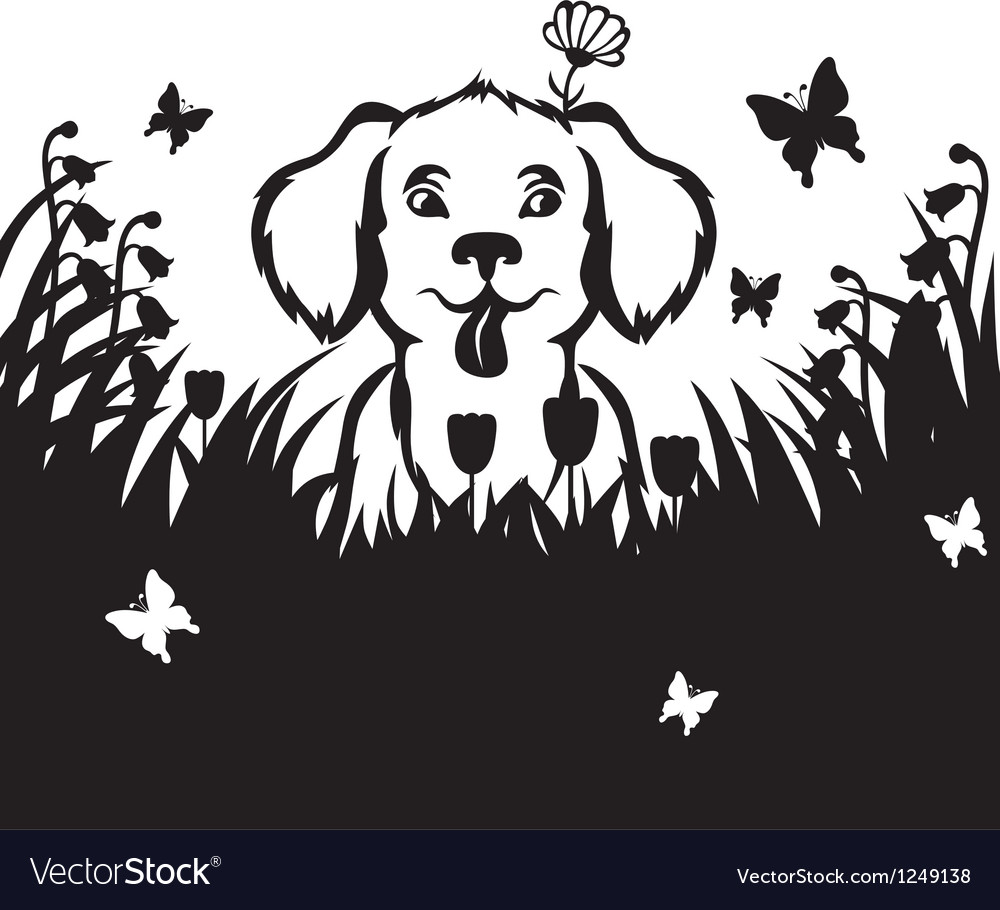 Meadow puppy vector