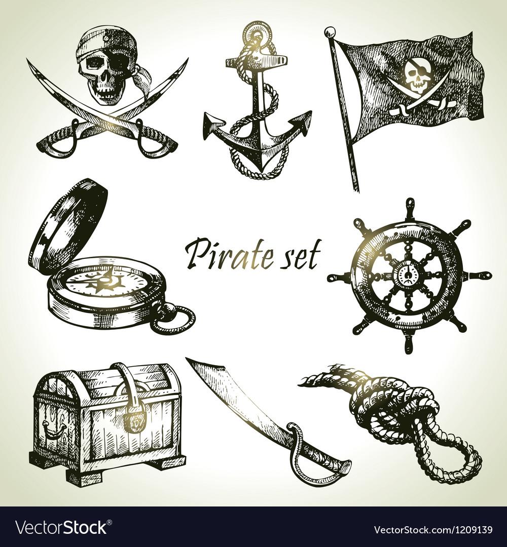 Pirates set hand drawn vector