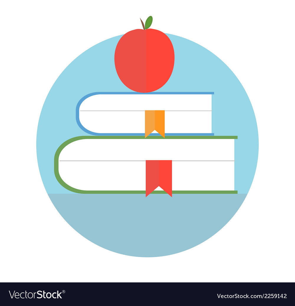 Books with apple education concept vector