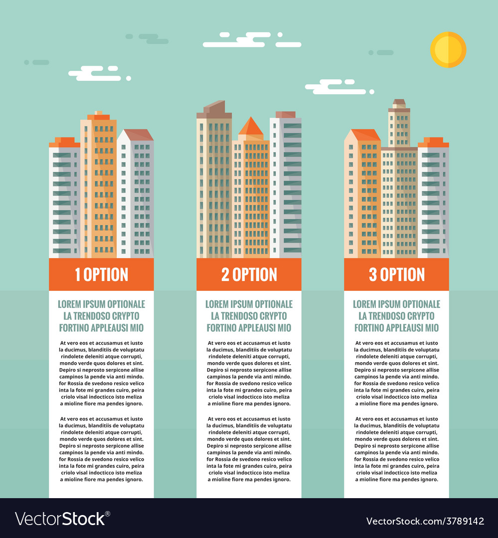 Buildings - infographic concept vector