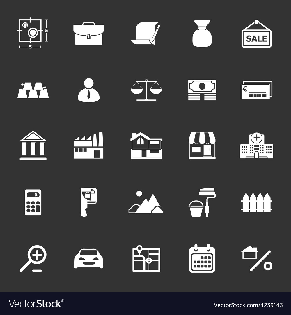 Mortgage and home loan icons on gray background vector