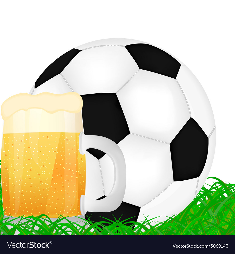 Mug of beer and a soccer ball vector