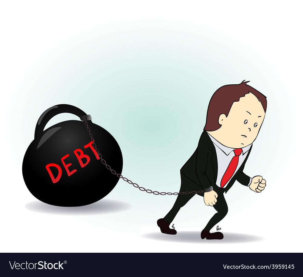 Business man burdened with debt vector